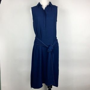 Zara Blue Drop Waist Tie Midi sleeveless dress